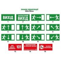 Таблички и наклейки знаки эвакуации. Размер 300х150 мм
