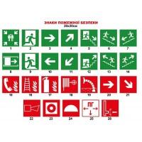 Знаки противопожарной безопасности 20х20 см