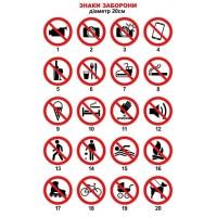 Таблички и наклейка запрещающие знаки. Размер 20х20 см