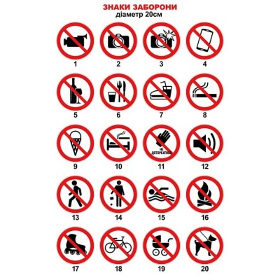 Таблички та наклейки знаки заборони. Размір 20х20 см