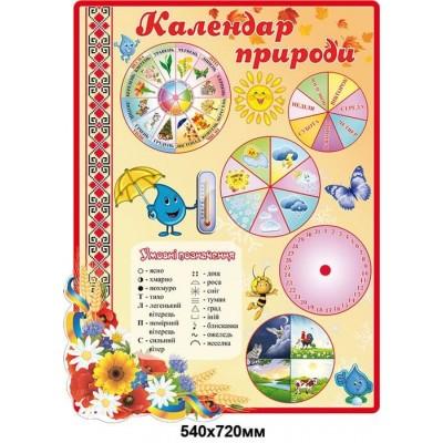 Стенд Календар природи стенд обладнаний стрілочками ,бежевий