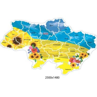 Стенд Карта Украины оформлена в желто-голубых цветах