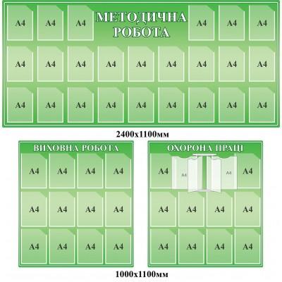 Комплект інформаційних стендів для школи (зелений, 3 шт.)