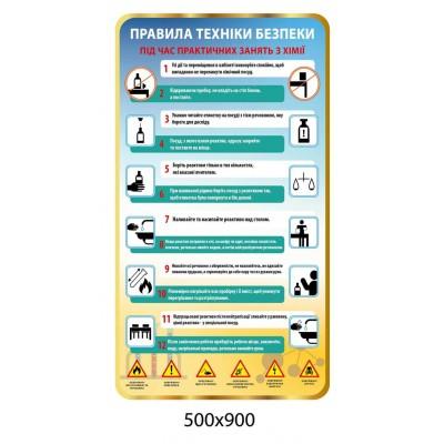 Стенд Правила техніки безпеки у кабінеті хімії