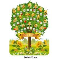 Стенд в форме дерева с пчелками Наш класс