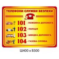 Стенд Телефоны службы безопасности (4 телефона)