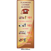 Стенд Телефоны службы безопасности (цвет беж)