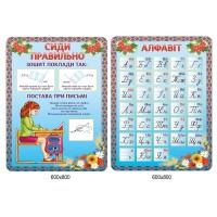 Комплект стендов для начальной школы Сиди правильно, Алфавит (цвет голубой)