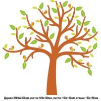 Стенд для детских рисунков в виде дерева с раздельными элементами - птички и листики