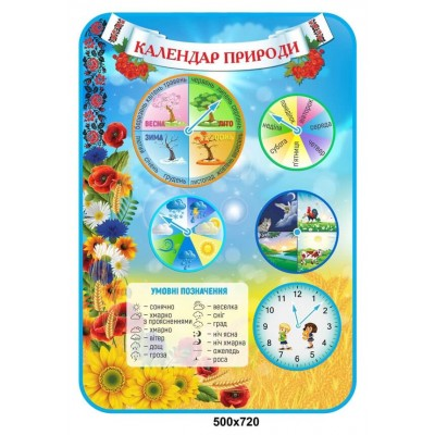 Стенд Календарь природы со стрелками