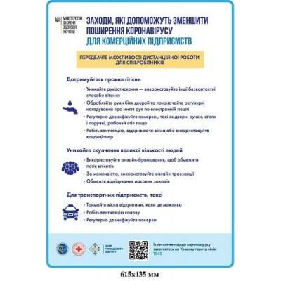 Плакат Мероприятия для уменьшения Распространение Covid19 на рабочем месте