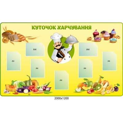 Стенд Уголок питания Фрукты и овощи
