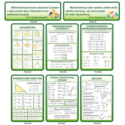 Комплект стендів для кабінету математики (зелений колір)