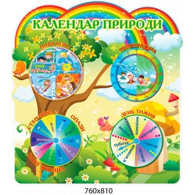 Стенд Календар природи галявина зі стрілочками