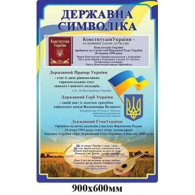 Стенд в правовой уголок Государственная символика Украины Герб Флаг Гимн Конституция