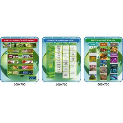 Набор стендов для биологии 3 шт (Уровни организации живой материи, развитие органического мира, царства живой природы)