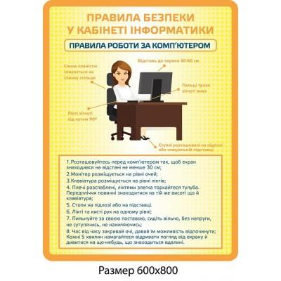 Стенд Правила безпеки у кабінеті інформатики (помаранчевий)