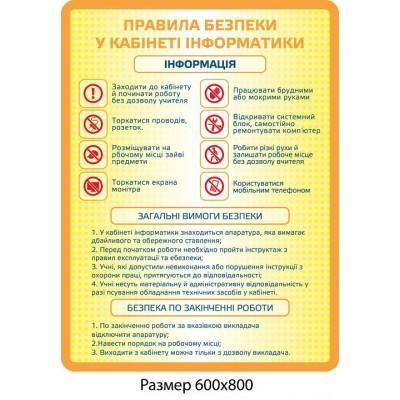 Стенд Правила безопасности в кабинете информатики (желтый)