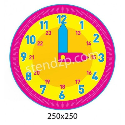 Стенд Учим время (розовый)