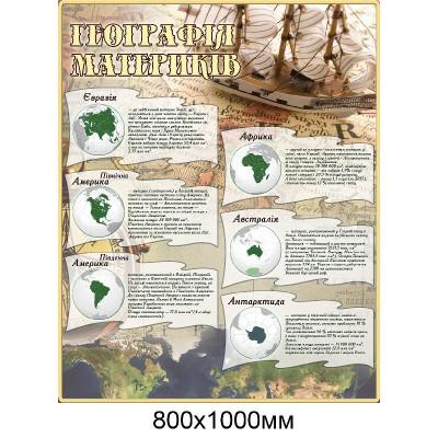 Стенд Географія материків (беж)
