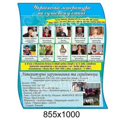 Стенд Українська література на сучасному етапі (блакитний)