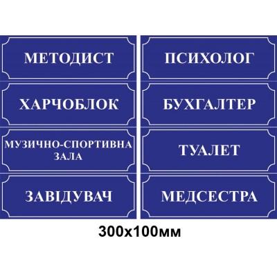 Табличка на двері (синя з білим контуром)