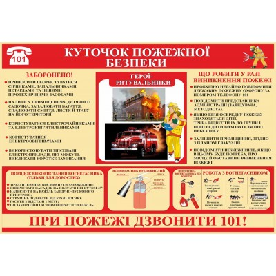 Стенд Куточок пожежної безпеки (червона шапка)