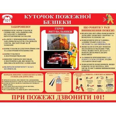 Стенд Уголок пожарной безопасности (на красном фоне)