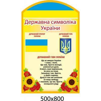 Стенд Государственный гимн и символика Украины (желтый)