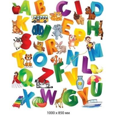 Наклейки Английский алфавит с картинками